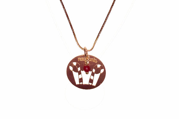 LUCKY CROWN BRONZE GOLDEN ROSE BIG PENDANT with gold chain