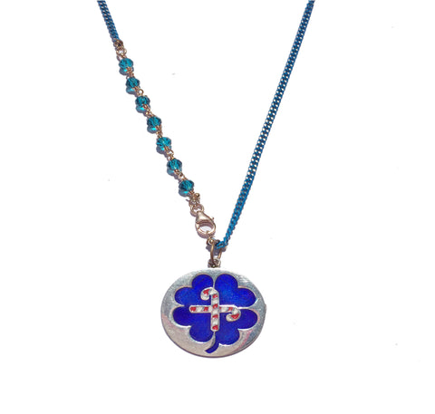 LUCKY BLUE SILVER ENAMELED NECKLACE with blue chain
