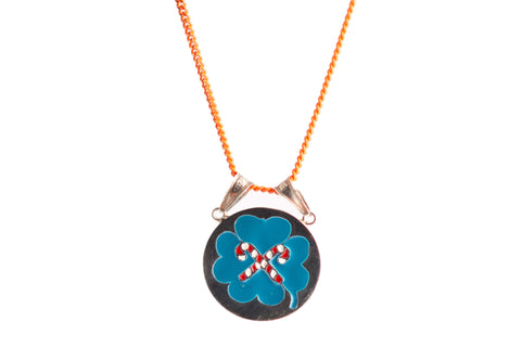 LUCKY TORQUOISE SILVER ENAMELLED PENDANT with orange chain