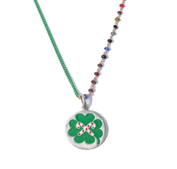 LUCKY GREEN SILVER ENAMELLED PENDANT and green chain