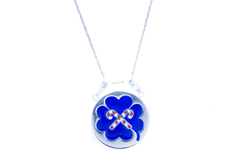 LUCKY BLUE SILVER ENAMELED NECKLACE