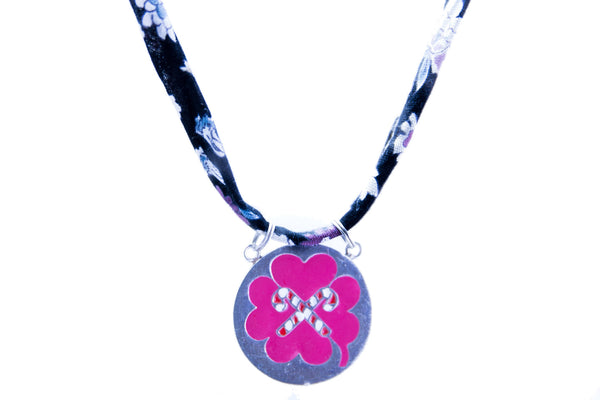 LUCKY PINK SILVER ENAMELLED PENDANT