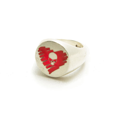 STRAY HEART silver light enameled ring