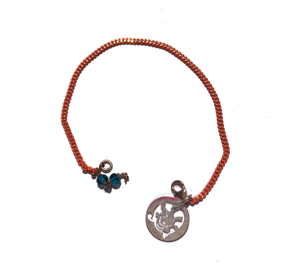 MISTER MACADAMIA SILVER DARK SMALL BRACELET with orange chaIn