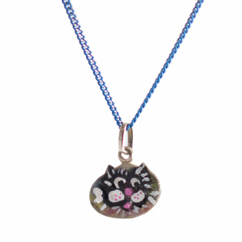 ENAMELED CAT SILVER PENDANT