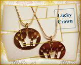 LUCKY CROWN BRONZE GOLDEN BIG PENDANT with gold chain