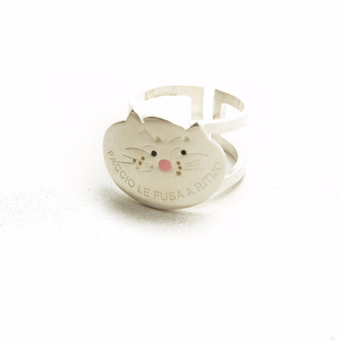 CAT SILVER RING ENAMELED