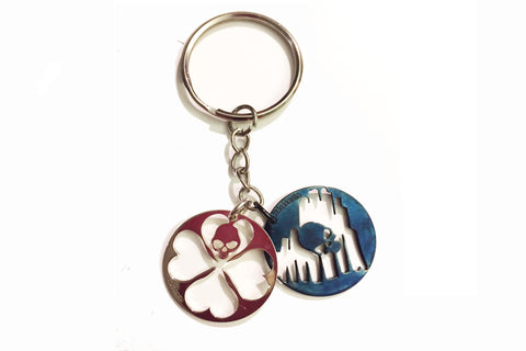 STRAY  LOVE AND LUCK SILVER KEYCHAIN