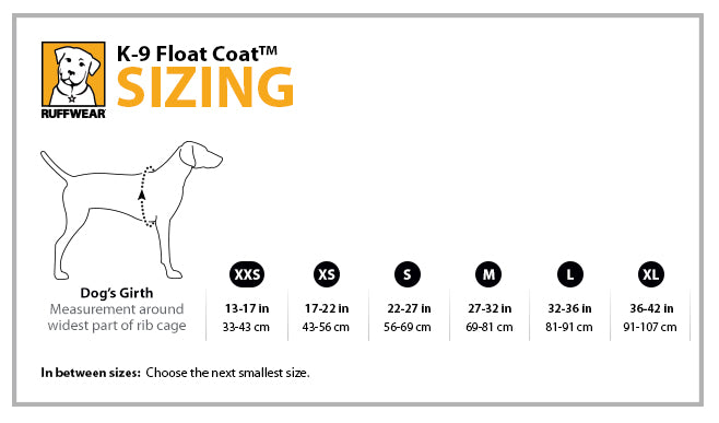 Ruffwear float coat size information