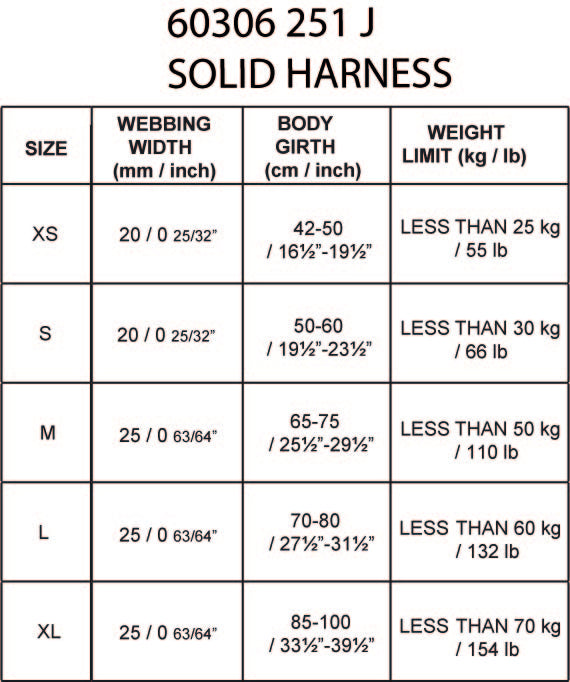 Rukka Solid Harness Size Guide