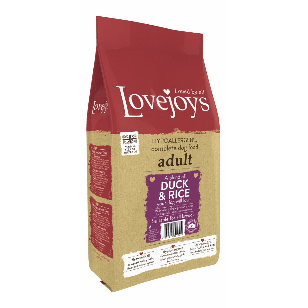Lovejoys Adult Duck & Rice Dry Dog Food - PurrfectlyYappy