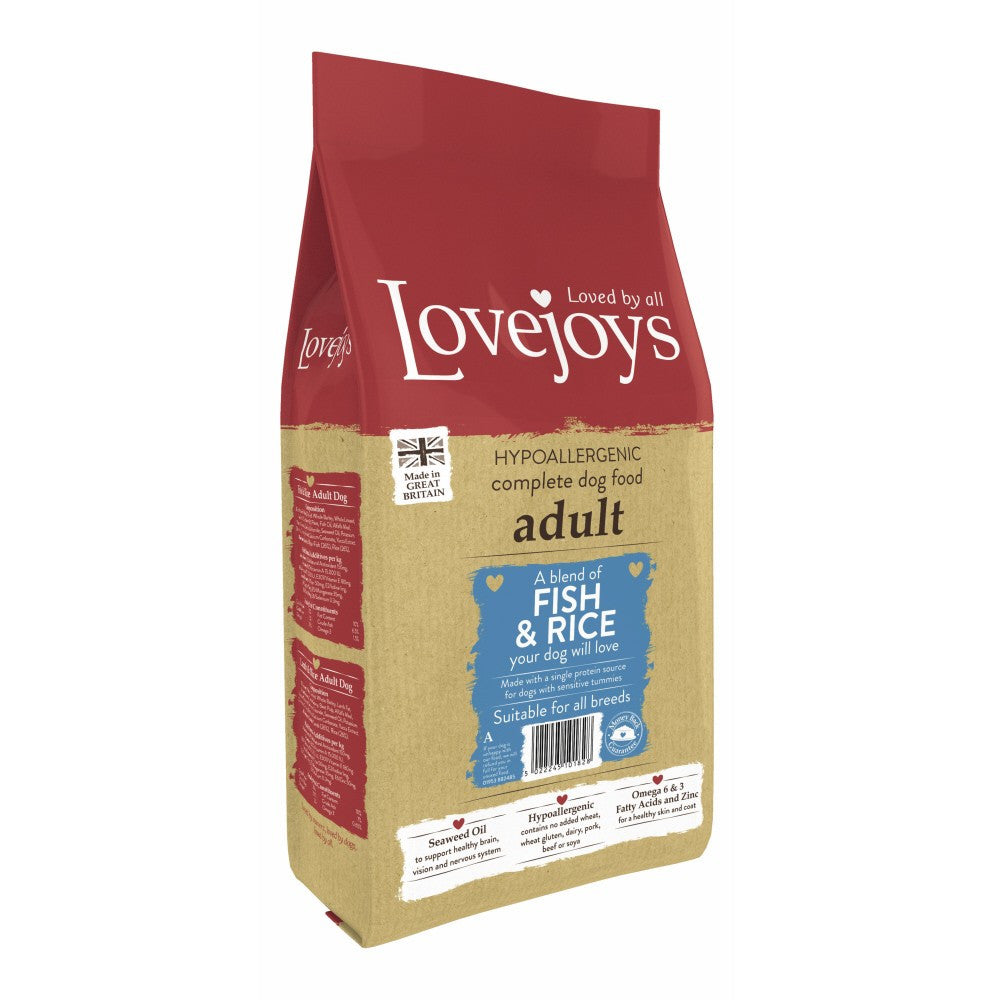 Lovejoys Adult Fish & Rice Dry Dog Food - PurrfectlyYappy