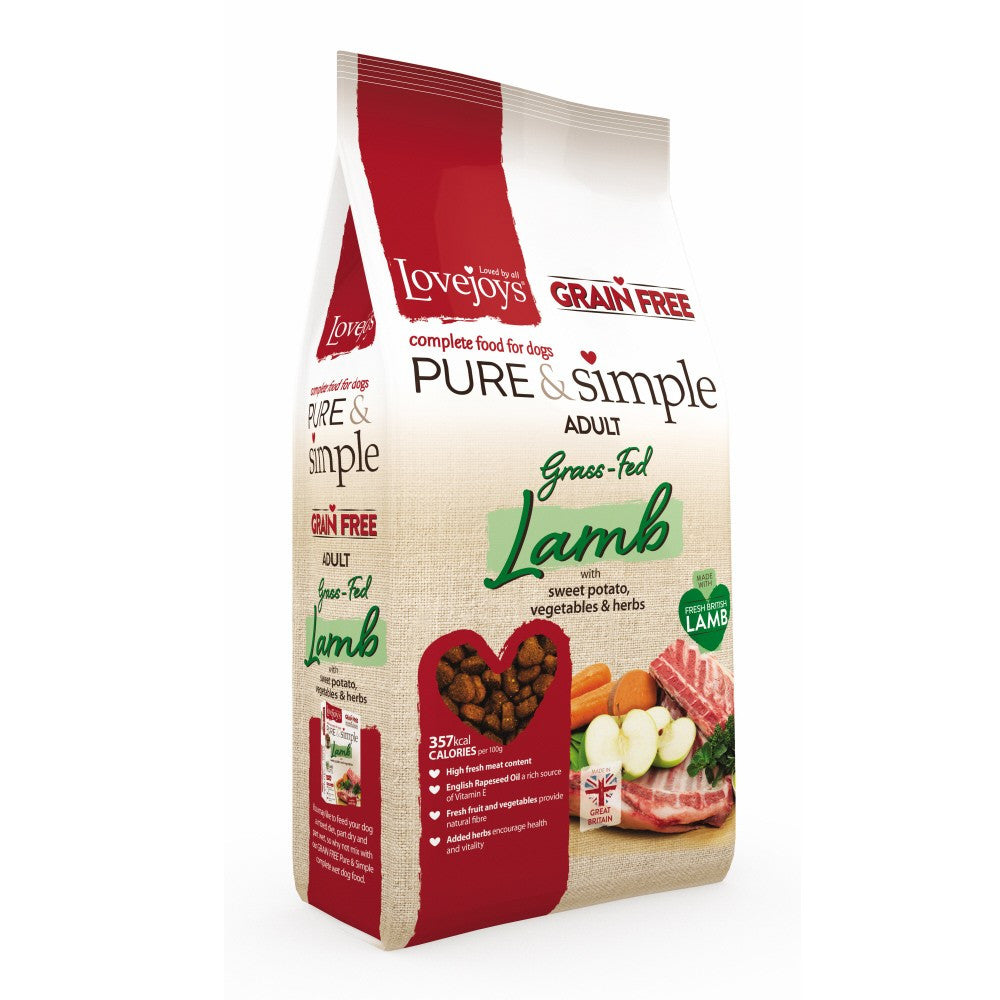 Lovejoys Pure & Simple Grain Free Grass Fed Lamb Dry Dog Food - PurrfectlyYappy