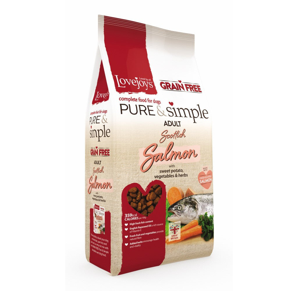Lovejoys Pure & Simple Grain Free Scottish Salmon Dry Dog Food - PurrfectlyYappy