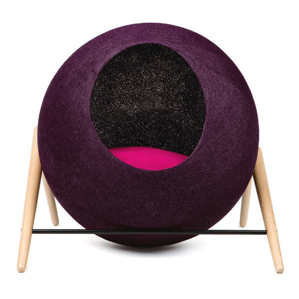 Meyou The Ball Cat Bed in Plum - PurrfectlyYappy