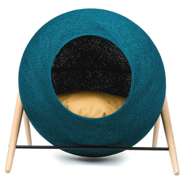 The Ball Cat Bed by Meyou - Peacock Blue Cocoon