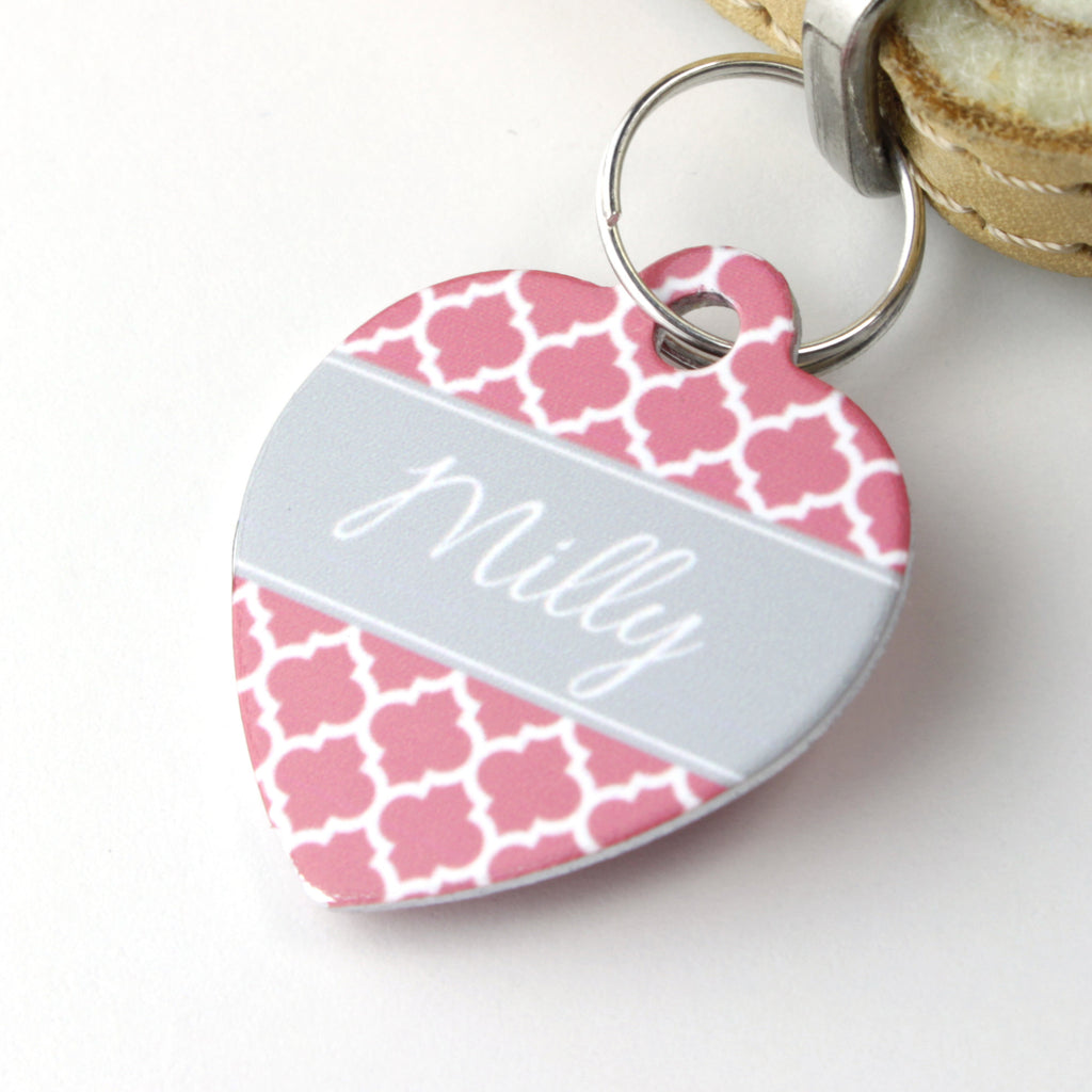 We Love To Create Personalised Pet Tag Heart Shaped in Quatrefoil - PurrfectlyYappy
