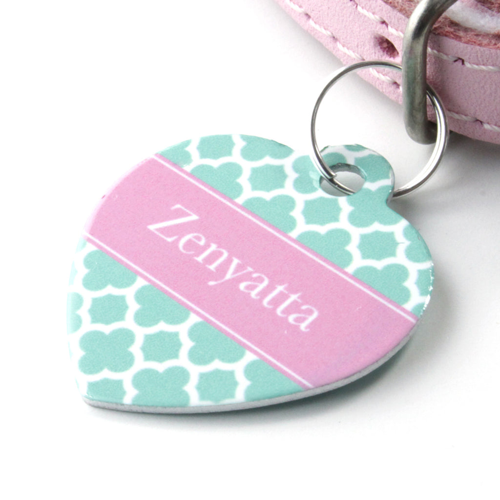 We Love To Create Personalised Pet Tag Heart Shaped in Clover - PurrfectlyYappy