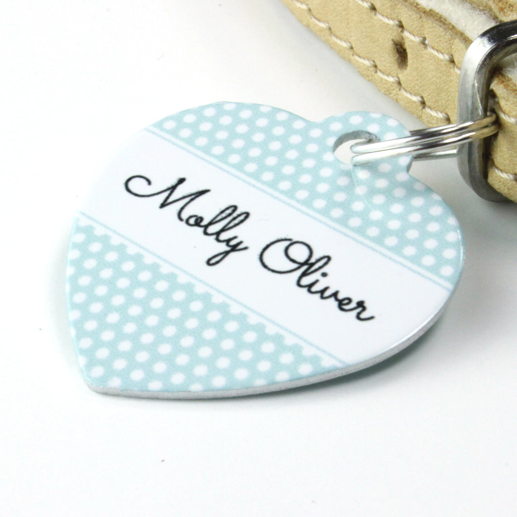 We Love To Create Personalised Pet Tag Heart Shaped in Polka Dot - PurrfectlyYappy