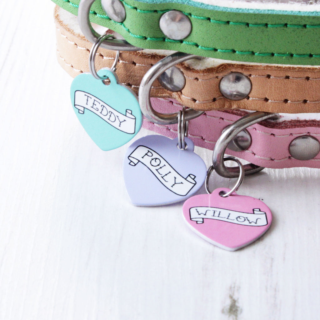 We Love To Create Personalised Pet Tag Heart Shaped in Banner - PurrfectlyYappy