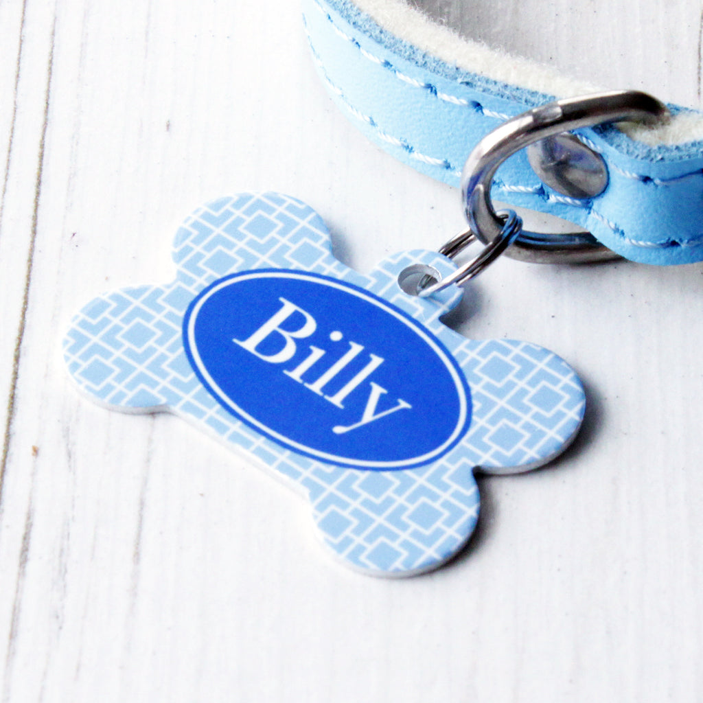 We Love To Create Personalised Pet Tag Bone Shaped in Square - PurrfectlyYappy