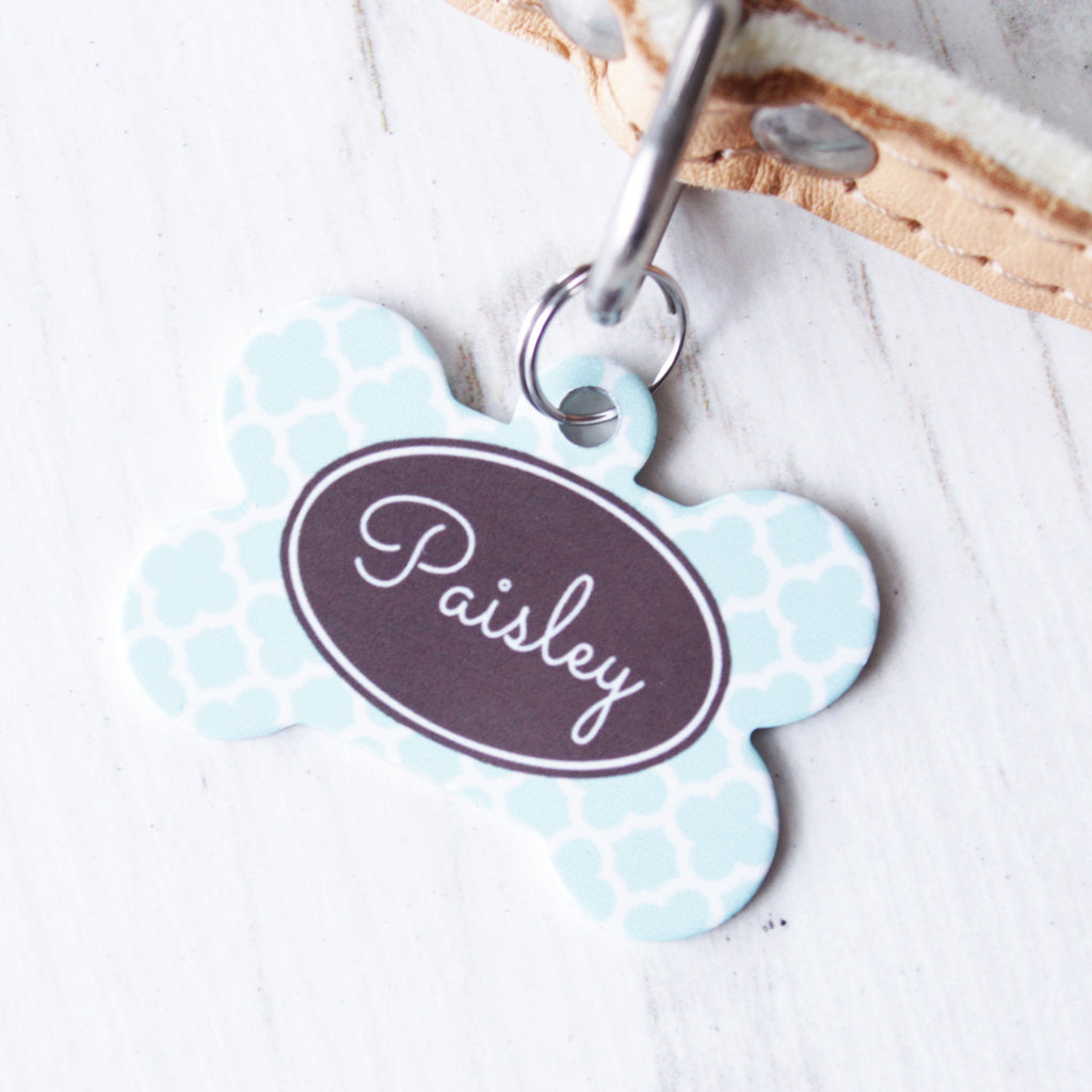 We Love To Create Personalised Pet Tag Bone Shaped in Clover - PurrfectlyYappy