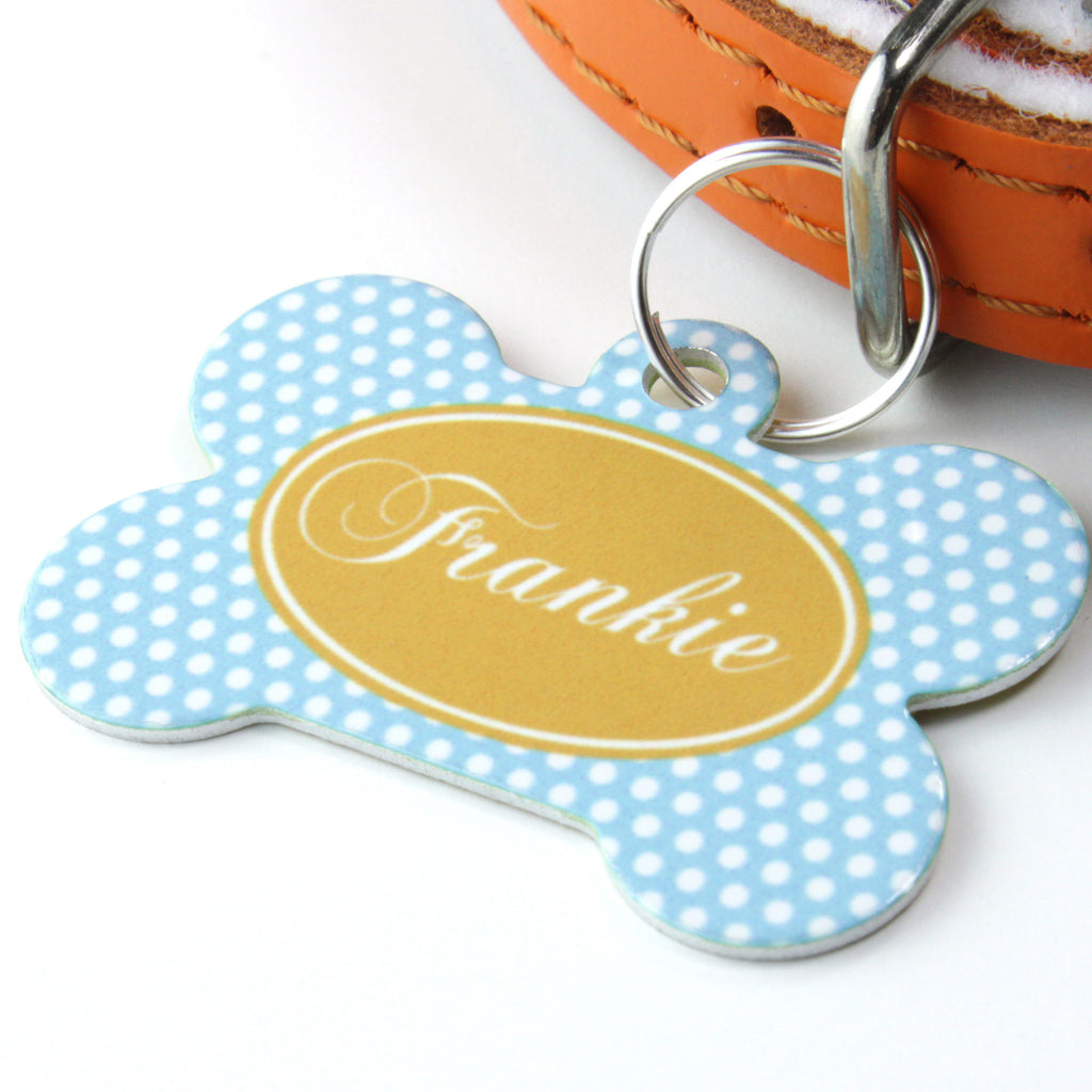 We Love To Create Personalised Pet Tag Bone Shape in Polka Dots - PurrfectlyYappy