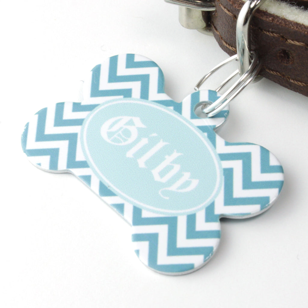 We Love To Create Personalised Pet Tag Bone Shaped in Chevron - PurrfectlyYappy