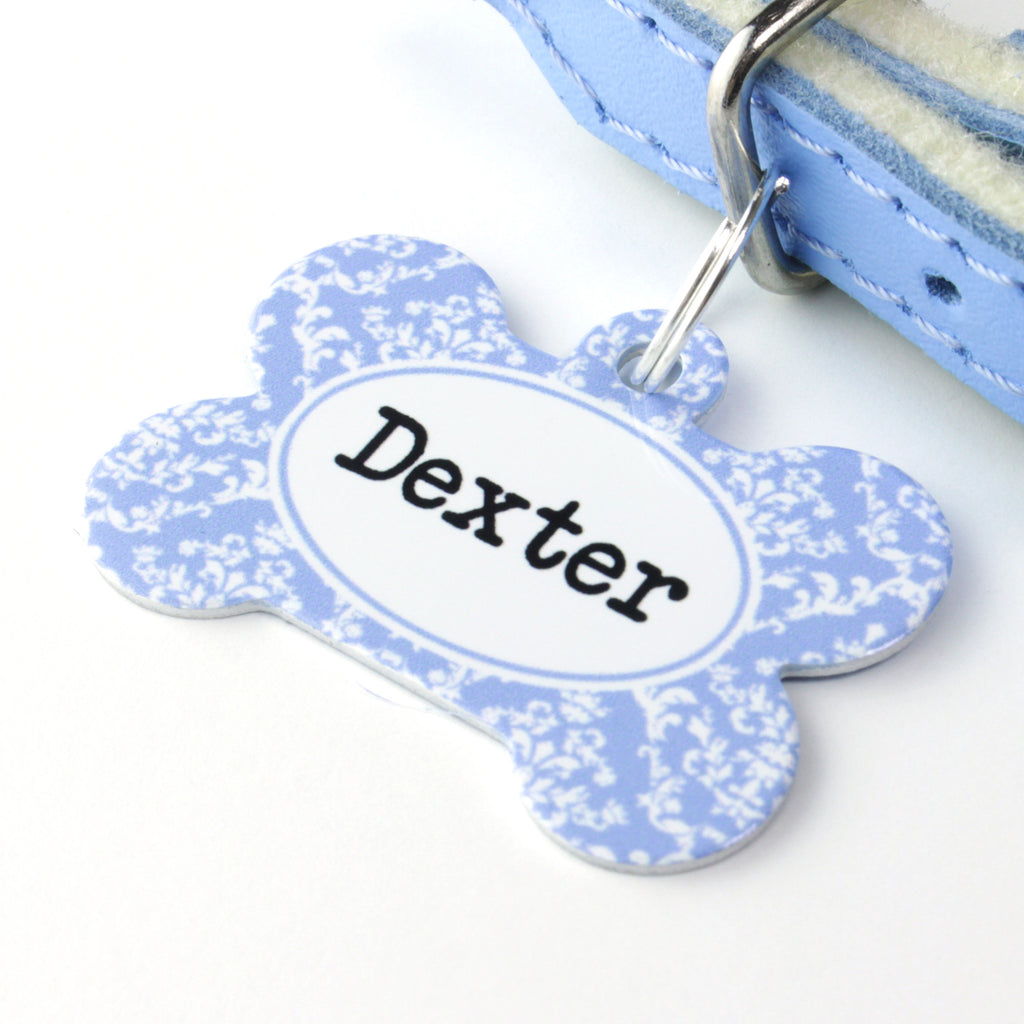 We Love To Create Personalised Pet Tag Bone Shaped in Damask - PurrfectlyYappy