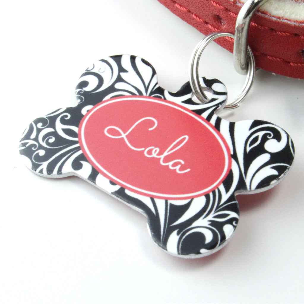 We Love To Create Personalised Pet Tag Bone Shape in Floral - PurrfectlyYappy