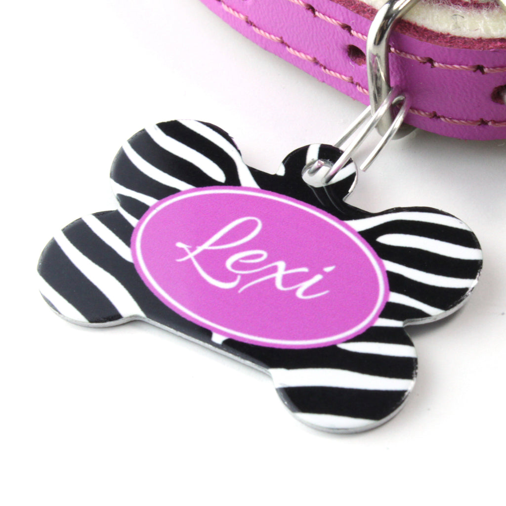 We Love To Create Personalised Pet Tag Bone Shape in Zebra - PurrfectlyYappy