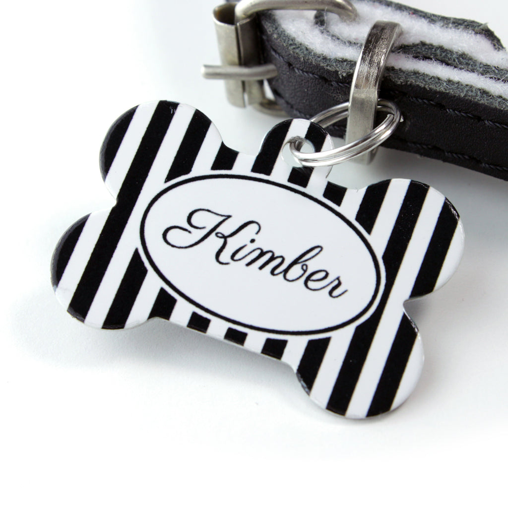 We Love To Create Personalised Pet Tag Bone Shaped in Stripe - PurrfectlyYappy