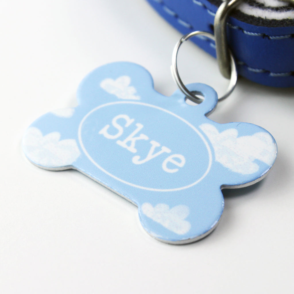 We Love To Create Personalised Pet Tag Bone Shaped in Cloud - PurrfectlyYappy