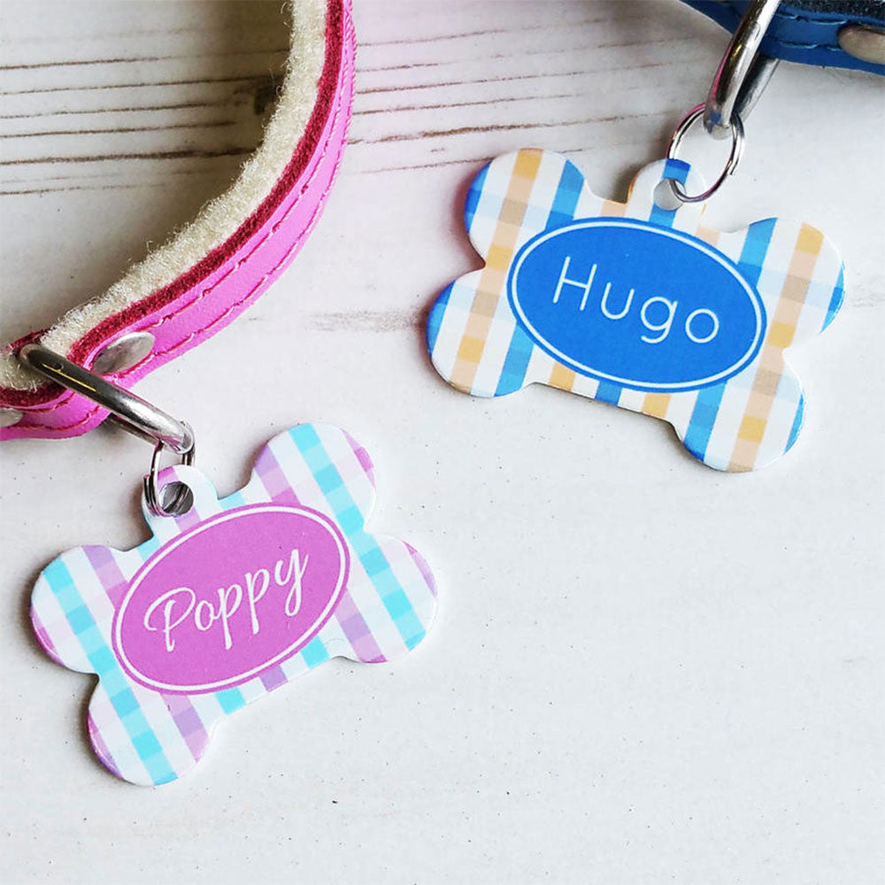 We Love To Create Personalised Pet Tag Bone Shaped in Gingham - PurrfectlyYappy