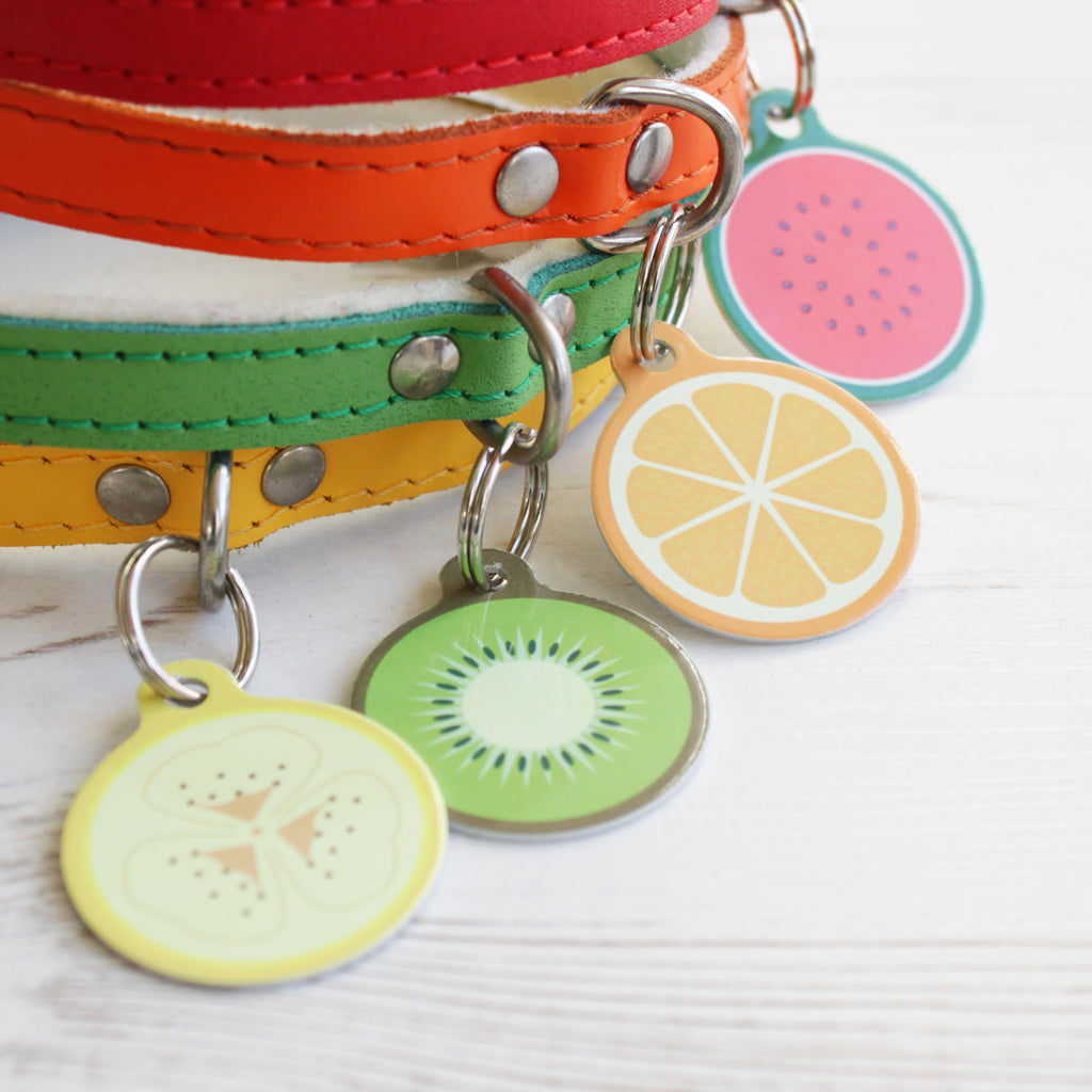 We Love To Create Personalised Bauble Dog Tags in Fruit