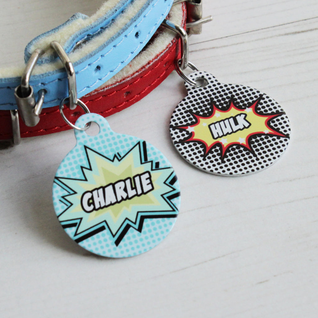 We Love To Create Personalised Pet Tag Bauble Shape in Comic - PurrfectlyYappy