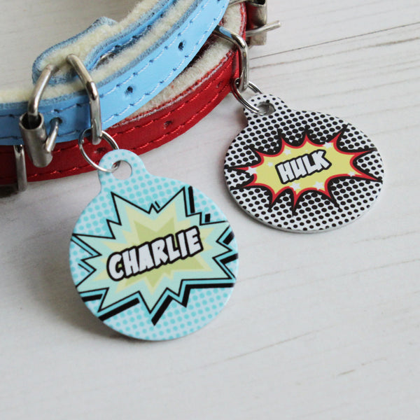 We Love To Create Personalised Pet Tag Bauble Shape in Comic