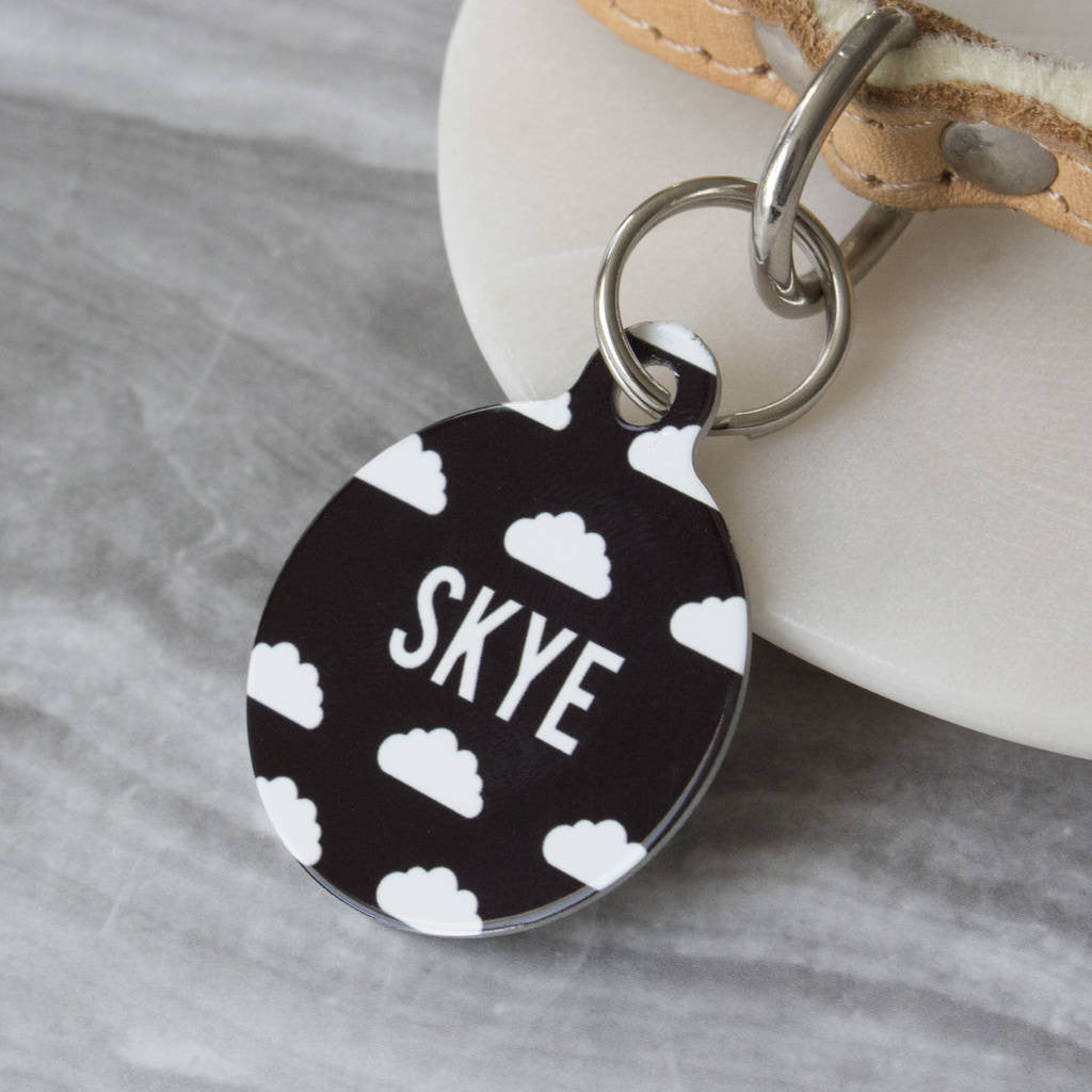 We Love To Create Personalised Bauble Dog Tag in Clouds Print - PurrfectlyYappy