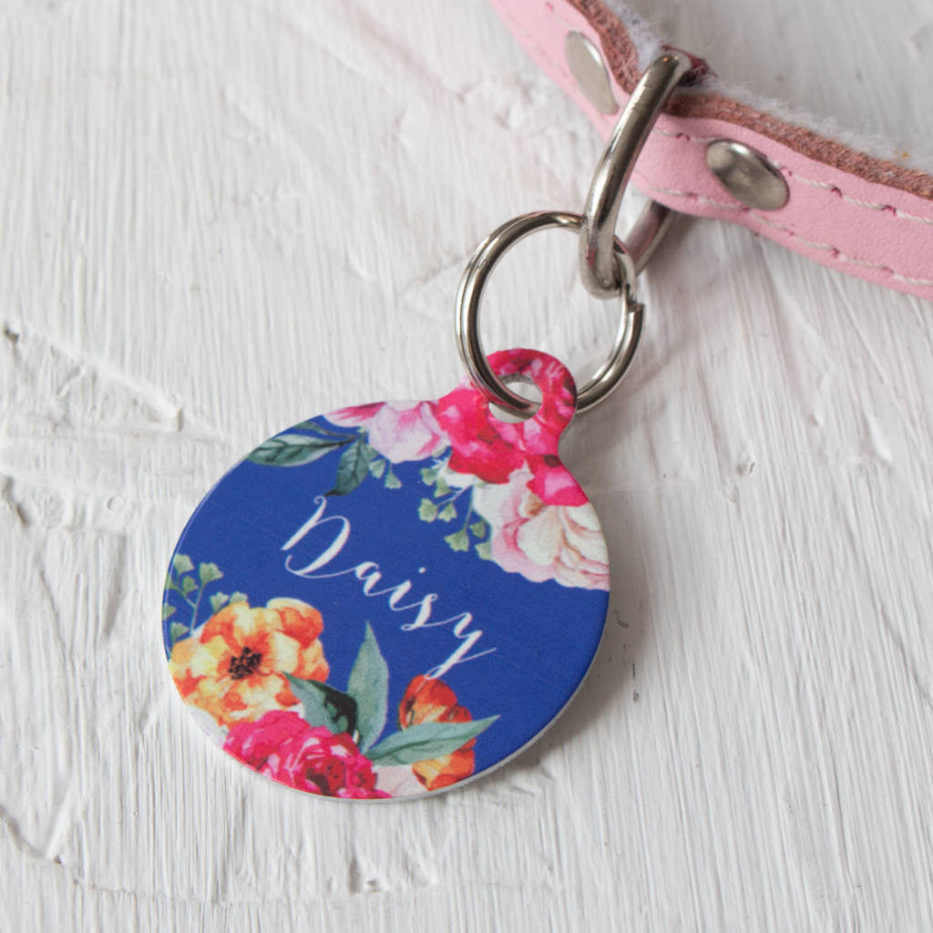 We Love To Create Personalised Bauble Dog Tag in Rose Bouquet Print - PurrfectlyYappy