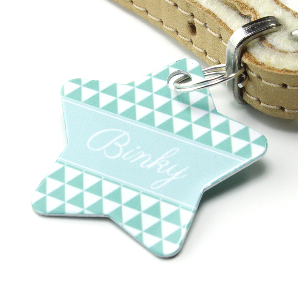 We Love To Create Personalised Pet Tag Star Shaped in Triangle - PurrfectlyYappy