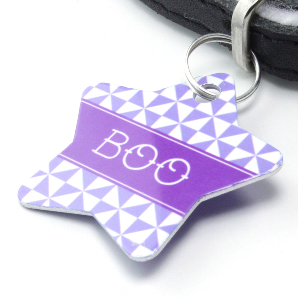 We Love To Create Personalised Pet Tag Star Shaped in Pinwheel - PurrfectlyYappy