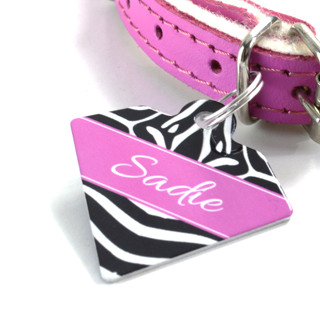 We Love To Create Personalised Pet Tag Diamond Shaped in Zebra - PurrfectlyYappy