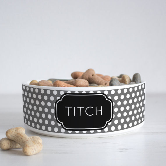 We Love To Create Personalised Bowl in Polka Dot - PurrfectlyYappy