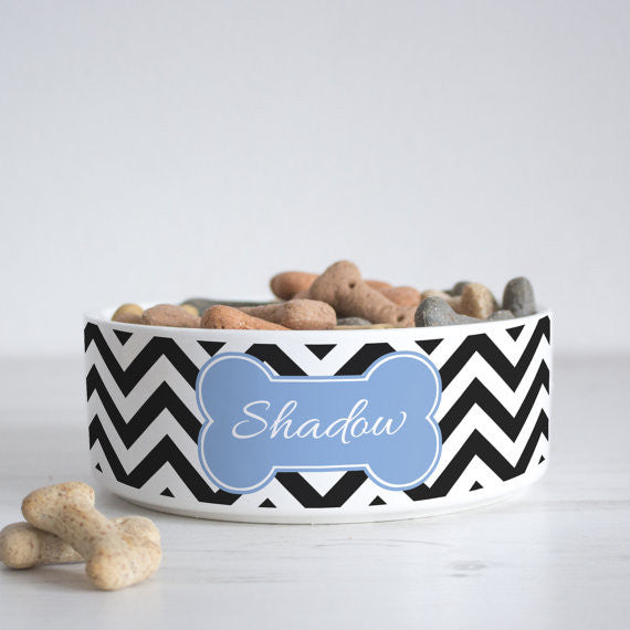 We Love To Create Personalised Bowl in Chevron - PurrfectlyYappy