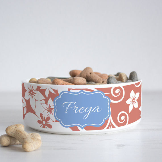 We Love To Create Personalised Bowl in Floral - PurrfectlyYappy
