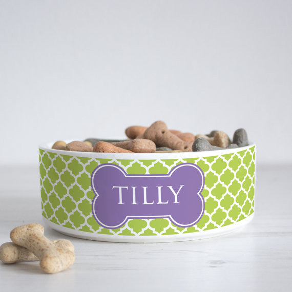 We Love To Create Personalised Bowl in Quatrefoil - PurrfectlyYappy