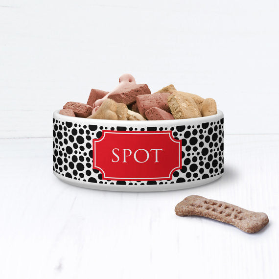 We Love To Create Personalised Bowl in Spotty - PurrfectlyYappy
