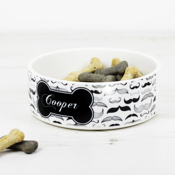 We Love To Create Personalised Bowl in Moustache - PurrfectlyYappy