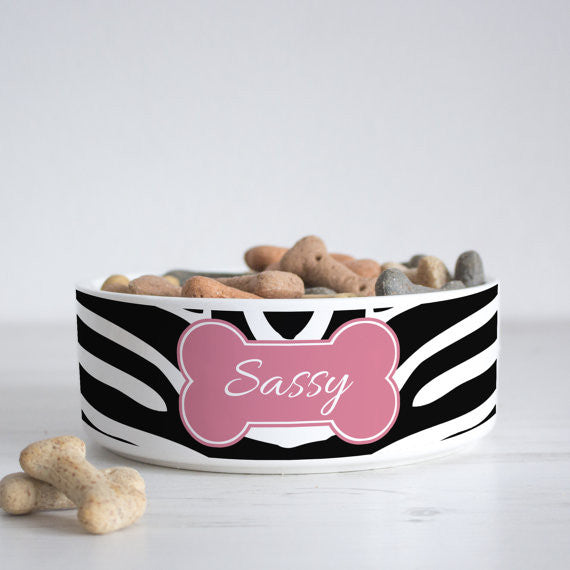 We Love To Create Personalised Bowl in Zebra - PurrfectlyYappy