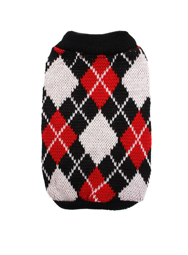 Urban Pup Red & Black Argyle Small Dog Jumper - PurrfectlyYappy